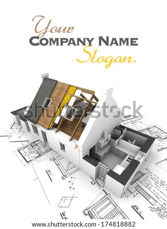 House with exposed roof layers on top of architect blueprints. - stock photo