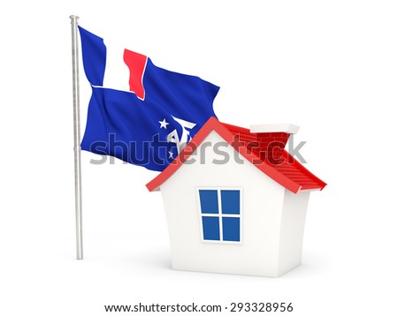 House with flag of french southern territories isolated on white