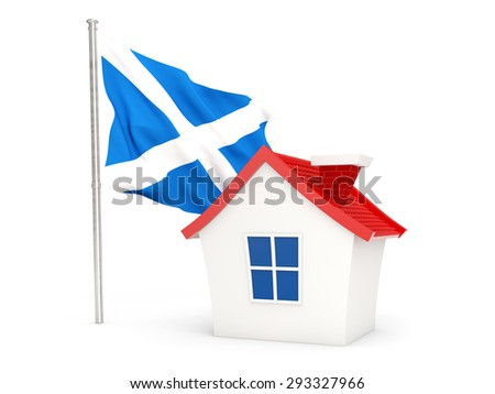 House with flag of scotland isolated on white