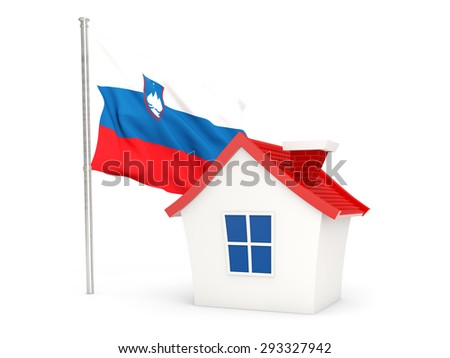 House with flag of slovenia isolated on white