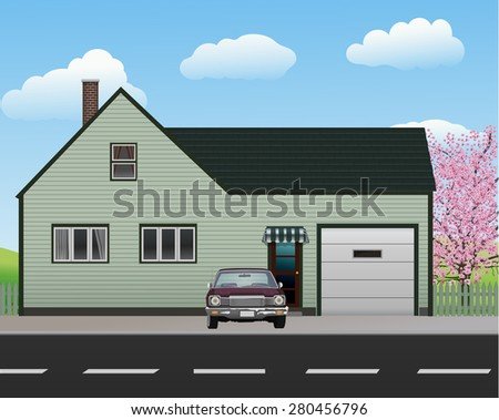 House with garage and old car. - stock photo