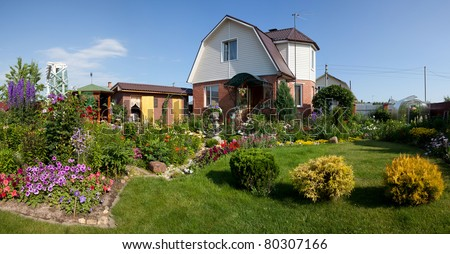 House with garden - stock photo