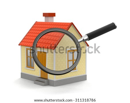 House with loupe (clipping path included) - stock photo