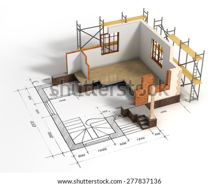 House with open interior on top of blueprints. Construction concept. - stock photo