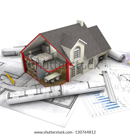 House with open interior on top of blueprints, documents and mortgage calculations - stock photo