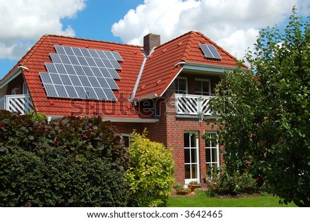 House with photovoltaic - stock photo