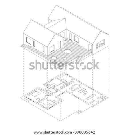 House with plan projection on white background. Isometric line illustration of sketch house. Raster version.3D - stock photo