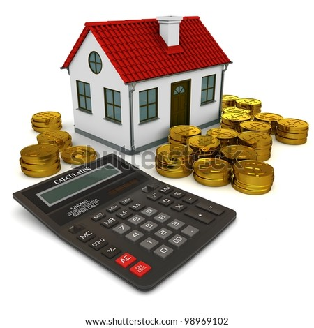 House with red roof, calculator, stack of gold coins dollar. 3d rendering - stock photo