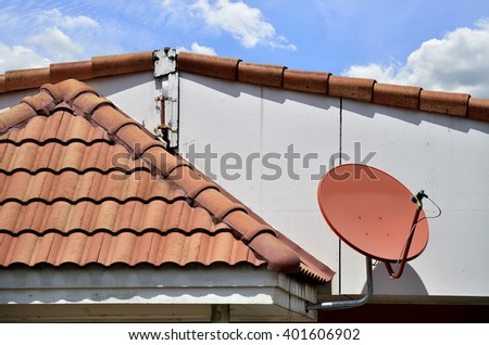 House with satellite (Selective focus) - stock photo