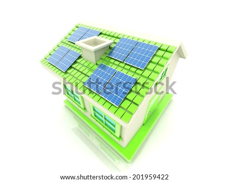 house with solar panels - stock photo