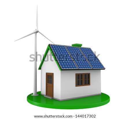 House with Solar Panels and Wind Turbine - stock photo