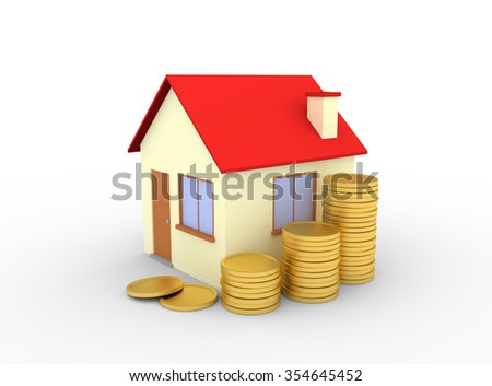 house with stacks of coins white background - 3d render