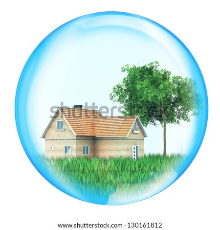 House with tree in sphere for use in presentations, manuals, design, etc. - stock photo