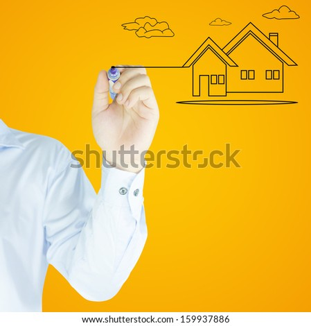 house write by human hand - stock photo