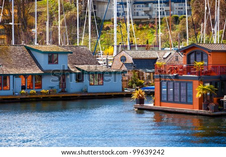 Houseboats and floating homes on Lake Union, Seattle, Washington - stock photo