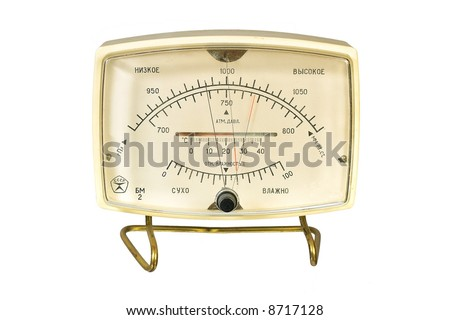 Household aneroid barometer hygrometer thermometer. Isolate image on white background.