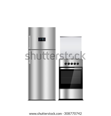 Household appliances on a white background. Stainless steel color refrigerator and stove isolated on white. Silver. Fridge freezer. The external LED display, with blue glow. Gas Cooker, stove, oven. - stock photo