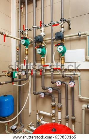 Household Boiler House Heat Pump Barrel Stock Photo (Royalty Free ...
