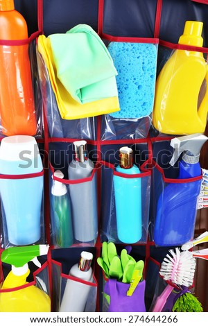 Household chemicals in holder, closeup - stock photo