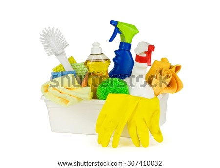 Household cleaning supplies in a box, isolated on pure white background