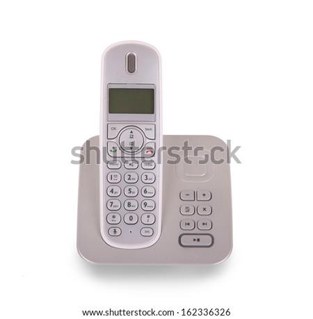 Household cordless telephone isolated on white background - stock photo
