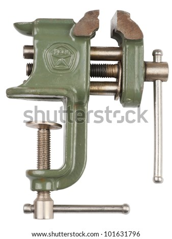 Household desktop vice on a white background - stock photo