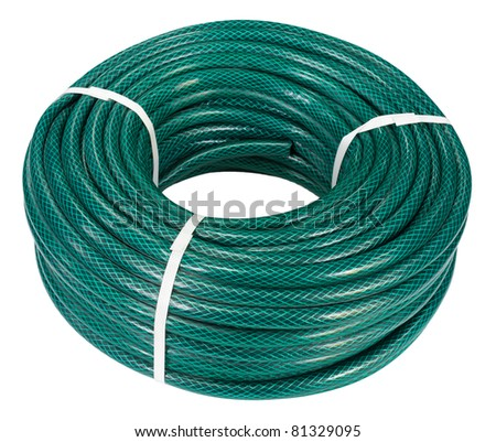 household goods - a reinforced long water hose, isolated, clipping path - stock photo