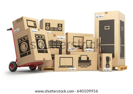 Household Kitchen Appliances And Home Electronics In Carboard Boxes  Isolated On White. E Commerce