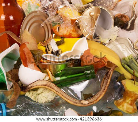 Household waste closeup background. View from above. - stock photo
