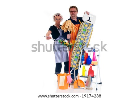 Houseman and housewife with ironing-board and ladder with cleaning products for daily household. - stock photo