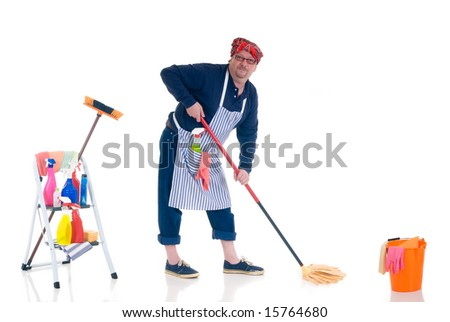 Houseman, the new man attending to daily household. - stock photo