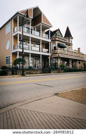 Houses along Grandview Avenue in Mount Washington, Pittsburgh, Pennsylvania. - stock photo