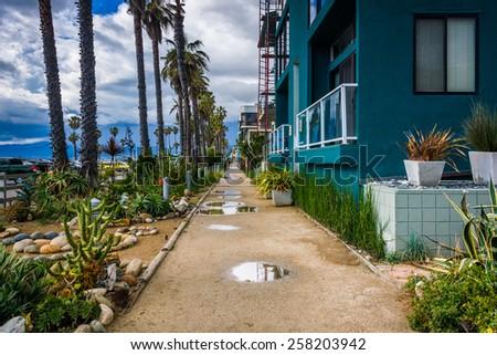 Houses along the boardwalk in Venice Beach, Los Angeles, California. - stock photo