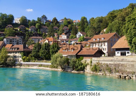 Houses along the river Aare in Bern, Switzerland.