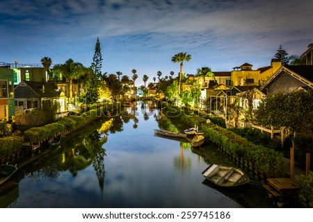 Houses along the Venice Canals at night, in Venice Beach, Los Angeles, California. - stock photo
