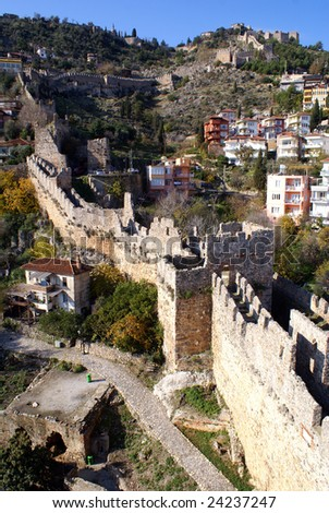 Houses and castle on the slope of hill in Alanya, Turkey