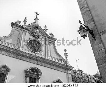 Houses and roofs of Lisbon - Portugal (black and white) - stock photo