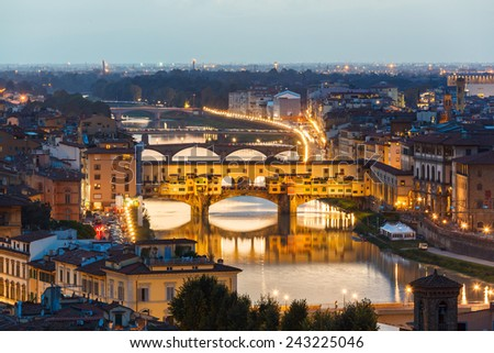Houses, Arno River and bridges Ponte Vecchio of Florence, Tuscany, Italy - stock photo