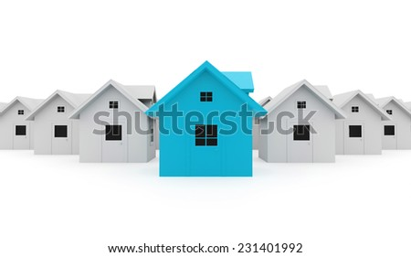 Houses business concept one is blue