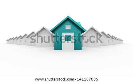 Houses concept front is blue isolated on white background - stock photo