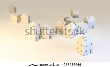 houses 3d smooth illustration - stock photo