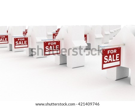 Houses for sale, 3D rendering - stock photo