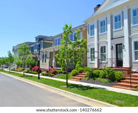 Houses in a Brand New Suburban Neighborhood Development - stock photo