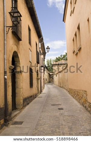 Houses in a street in the old part of Segovia, Spain