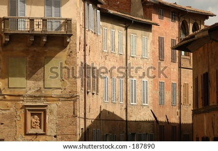 Houses in a village, Siena, Tuscany, Italy, - stock photo