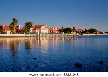 Houses in a waterfront neighborhood - stock photo