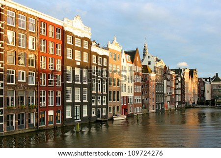 Houses in Amsterdam in the evening - stock photo