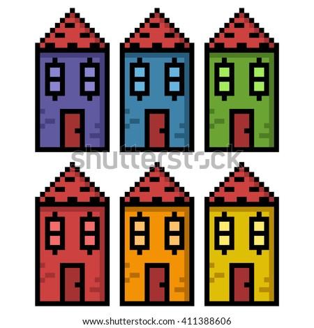 Houses in big pixels - stock photo
