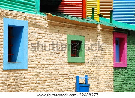 Houses in Caminito Street, in La Boca, in Buenos Aires, Argentina - stock photo