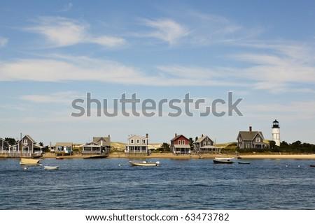 houses in cape cod, hyannis port, massachusetts, usa. - stock photo